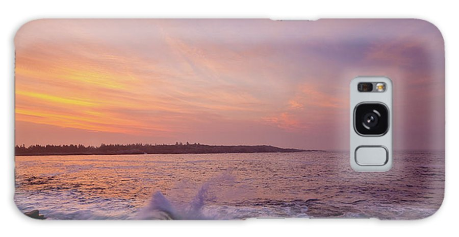 Acadia National Park Galaxy S8 Case featuring the photograph Red Sky And Storm Waves by Susan Cole Kelly
