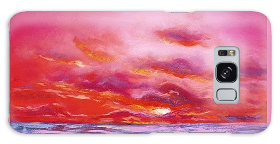 Red Galaxy Case featuring the painting Red Sunset by Gina De Gorna