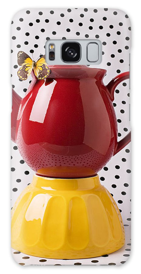 Yellow Galaxy S8 Case featuring the photograph Red Teapot With Butterfly by Garry Gay