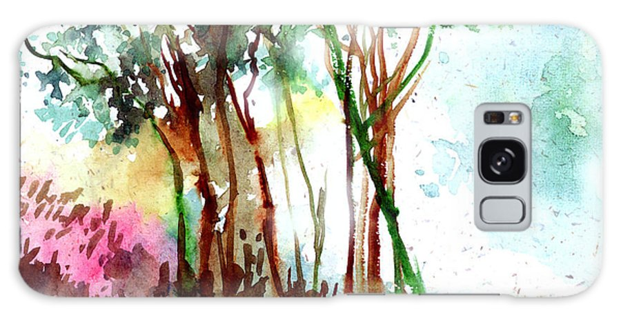 Landscape Galaxy Case featuring the painting Red Trees by Anil Nene