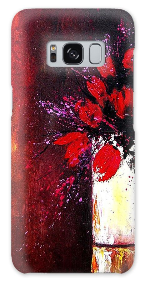 Flowers Galaxy S8 Case featuring the painting Red Tulips by Pol Ledent