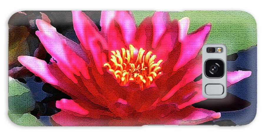 Floral Galaxy S8 Case featuring the photograph Red Water Lily - Palette Knife by Lou Ford