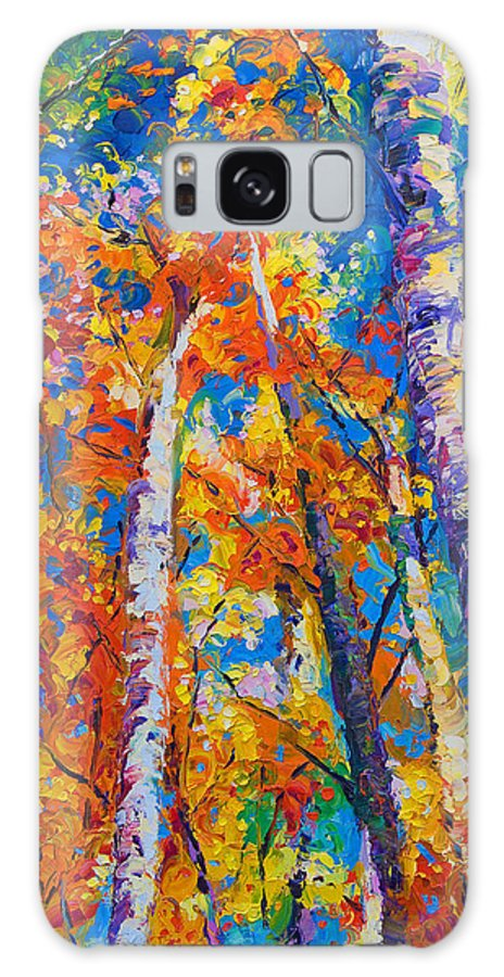 Impresssionist Galaxy Case featuring the painting Redemption - fall birch and aspen by Talya Johnson