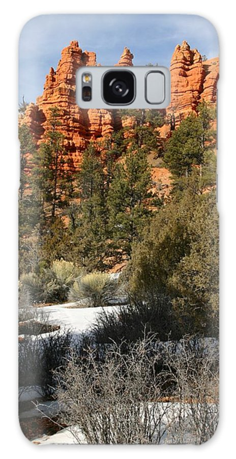 Red Rocks Galaxy S8 Case featuring the photograph Redrock Winter by Nelson Strong