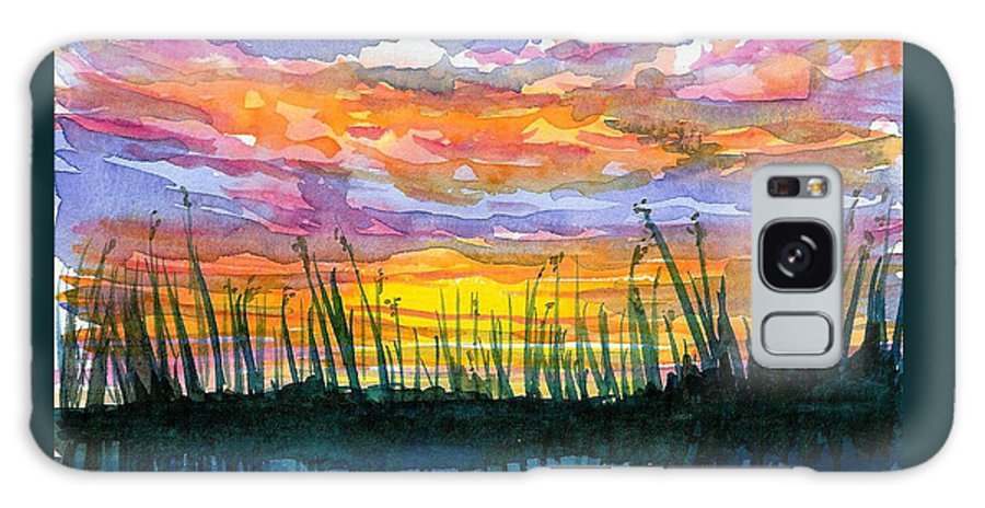 Sunset Galaxy S8 Case featuring the painting Reedy Sunset by Anne Marie Brown