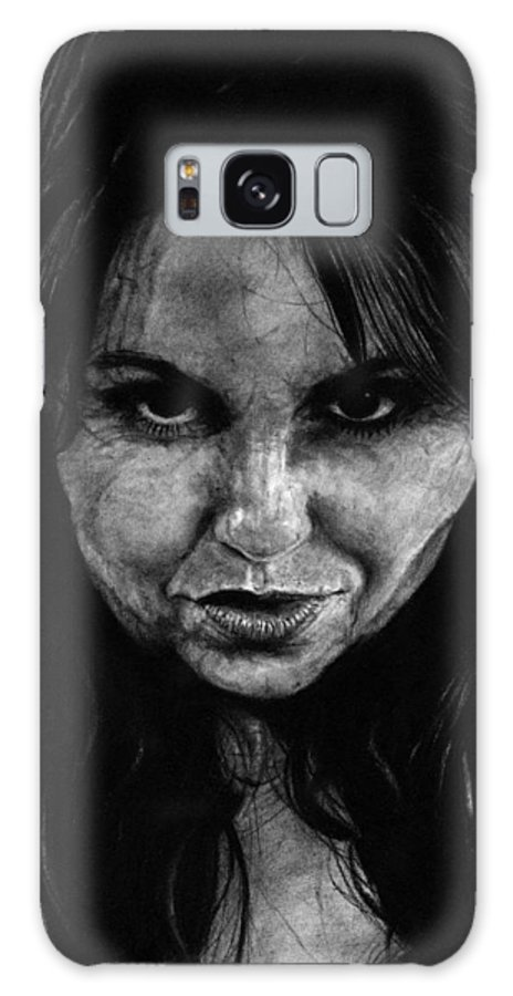 Portrait Girl Woman Sketch Drawing Charcoal Art Traditional Life Thought Smile Beautiful Expression Galaxy S8 Case featuring the drawing Reel Romance by Priscilla Vogelbacher