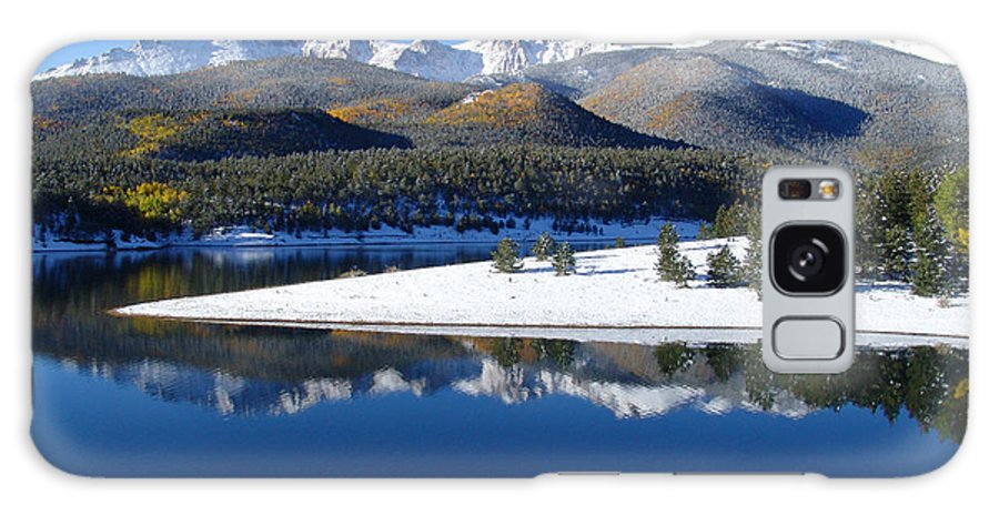 Landscape Galaxy S8 Case featuring the photograph Reflections Of Pikes Peak In Crystal Reservoir by Carol Milisen