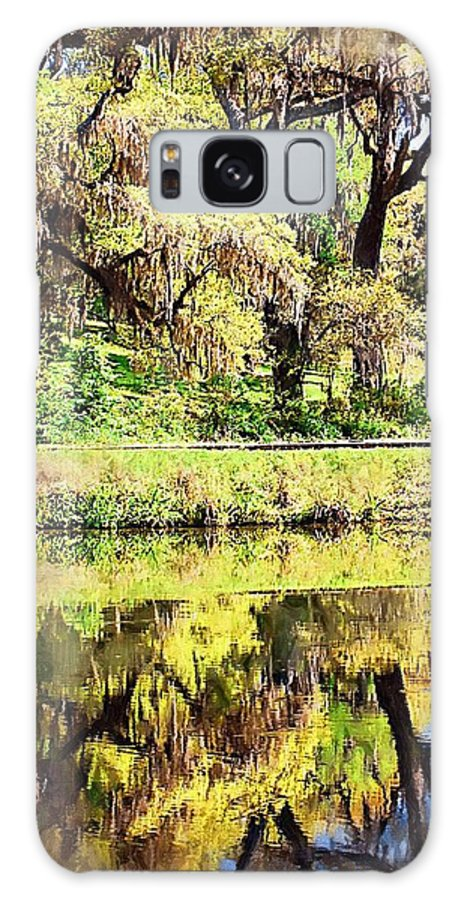 Landscape Galaxy Case featuring the photograph Reflective Live Oaks by Donna Bentley