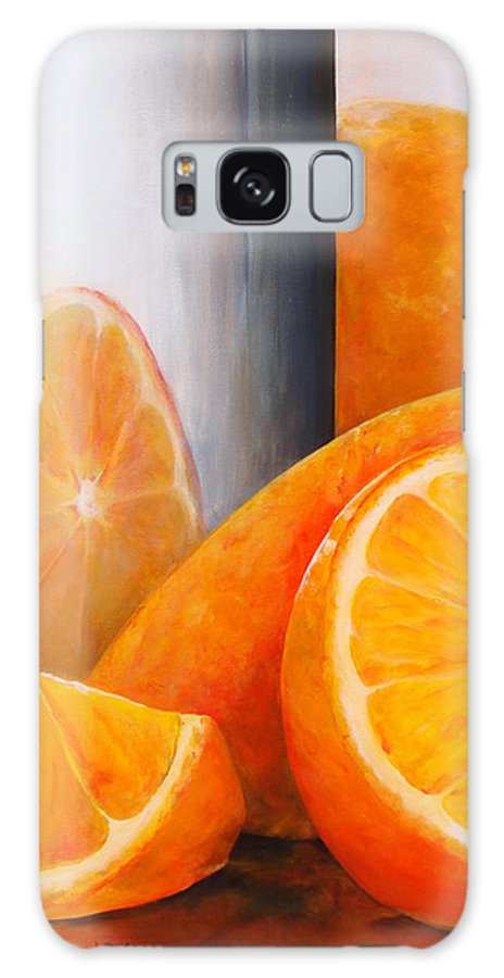 Still Life Galaxy Case featuring the painting Reflet orange by Muriel Dolemieux