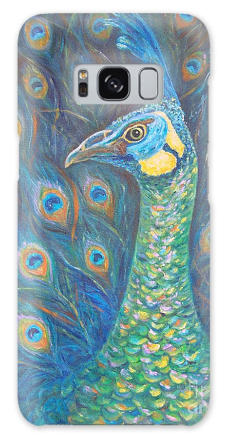 Peacock Galaxy S8 Case featuring the painting Regal Javanese Green by Alina Martinez-beatriz