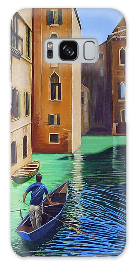 Canal In Venice Galaxy S8 Case featuring the painting Remembering Venice by Hunter Jay