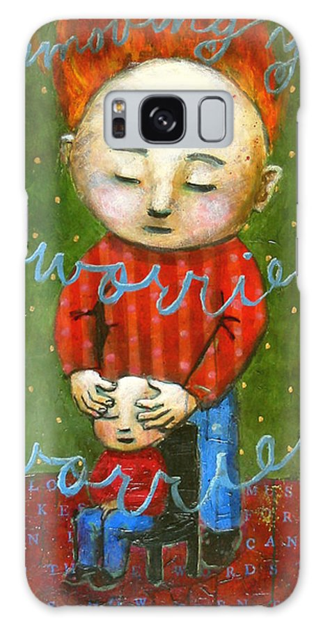 Text Galaxy Case featuring the painting Removing Your Worries by Pauline Lim