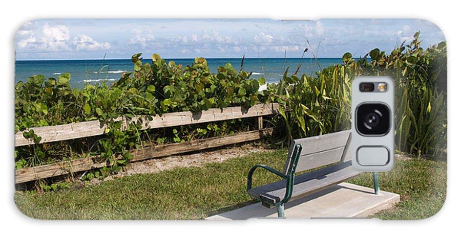 Bench; Public; Florida; Melbourne; Beach; Coast; Shore; Surf; Sand; Brevard; Space; Ocean; Sea; Atla Galaxy S8 Case featuring the photograph Reserved For A Visitor To East Coast Florida by Allan Hughes