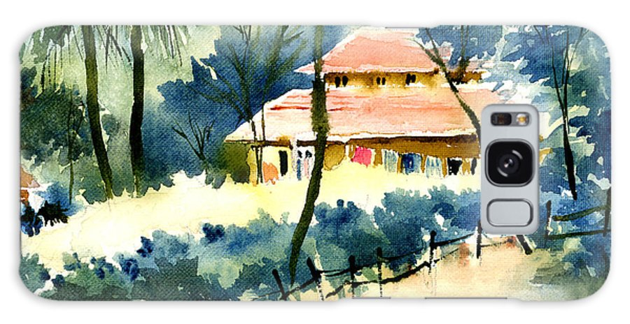 Landscape Galaxy Case featuring the painting Rest House by Anil Nene