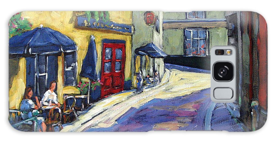 Restaurant Galaxy S8 Case featuring the painting Resto Le Cochon Dingue In Old Quebec by Richard T Pranke