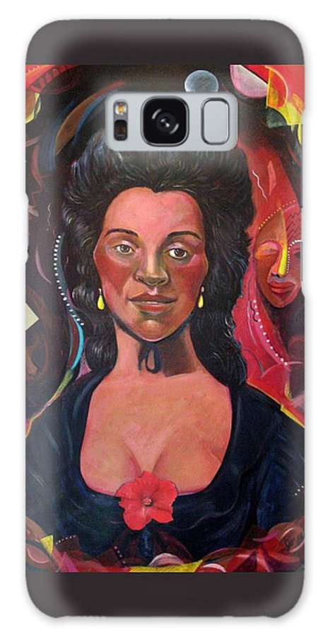 Portrait Galaxy Case featuring the painting Retro Racing History After Gainsborough by Joyce Owens