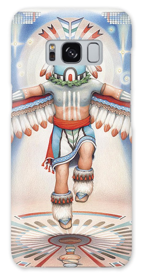 Blue Star Kachina Galaxy S8 Case featuring the drawing Return Of The Blue Star Kachina by Amy S Turner