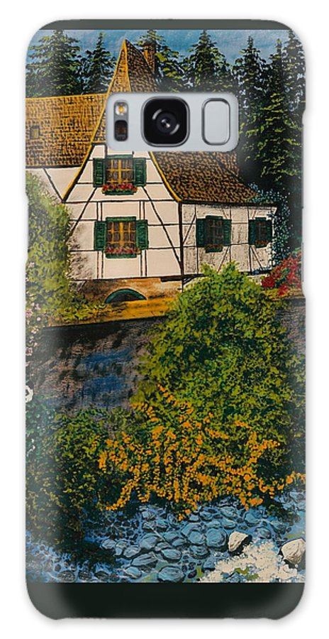 Germany Galaxy Case featuring the painting Rhine River Cottage by V Boge