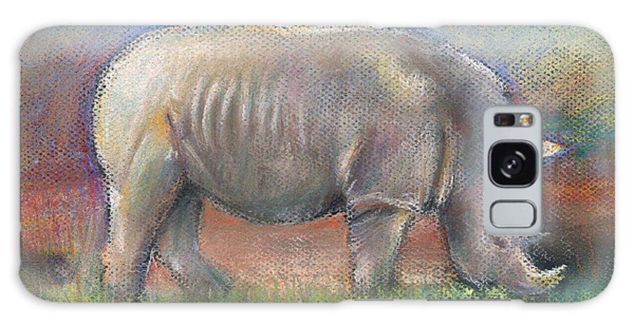 Rhino Galaxy S8 Case featuring the pastel Rhino by Arline Wagner