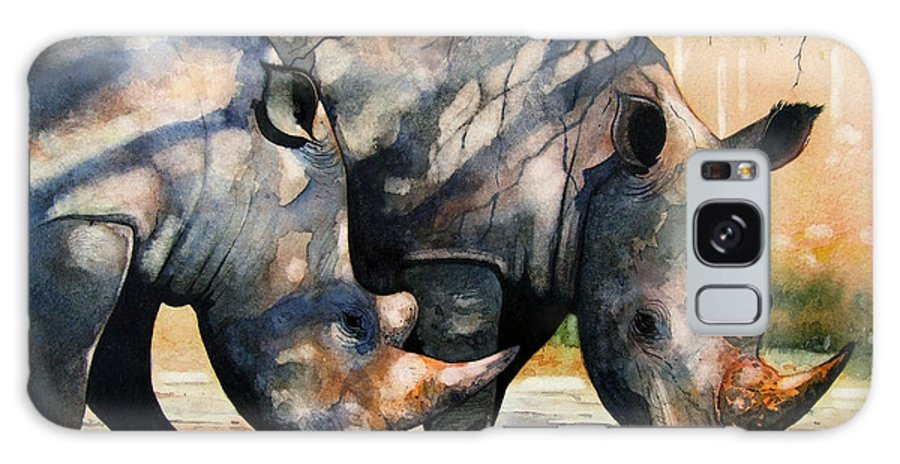 Rhino Galaxy S8 Case featuring the painting Rhinos In Dappled Shade. by Paul Dene Marlor