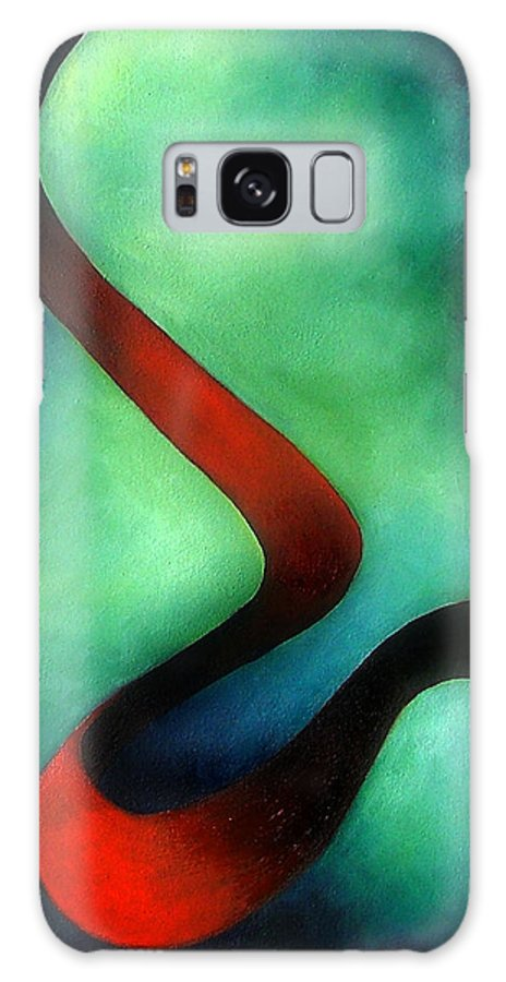 Red Galaxy S8 Case featuring the painting Ribbon Of Time by Elizabeth Lisy Figueroa