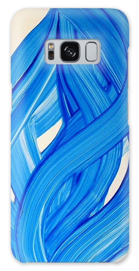 Abstract Modern Contemporary Yupo Art Painting Romantic Pop Blue Galaxy S8 Case featuring the painting Ribbons Of Love-blue by Manjiri Kanvinde