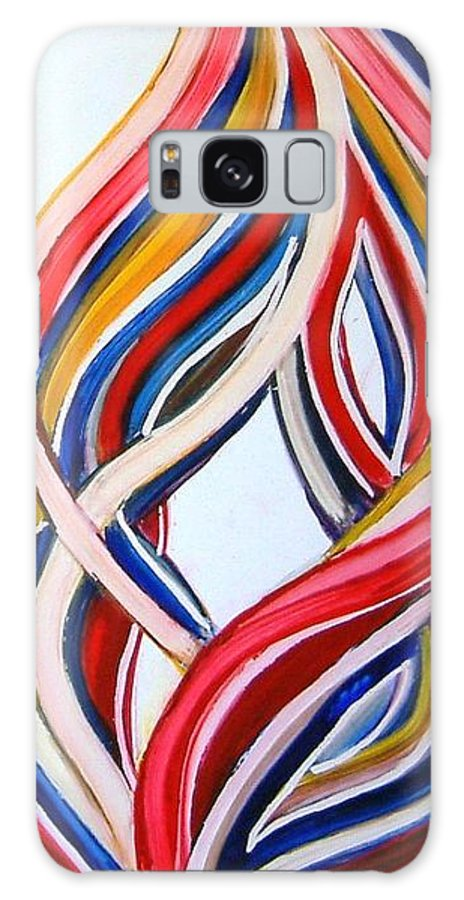 Abstract Modern Contemporary Pop Romantic Love Colourful Red Yellow Blue White Galaxy S8 Case featuring the painting Ribbons Of Love-multicolour by Manjiri Kanvinde