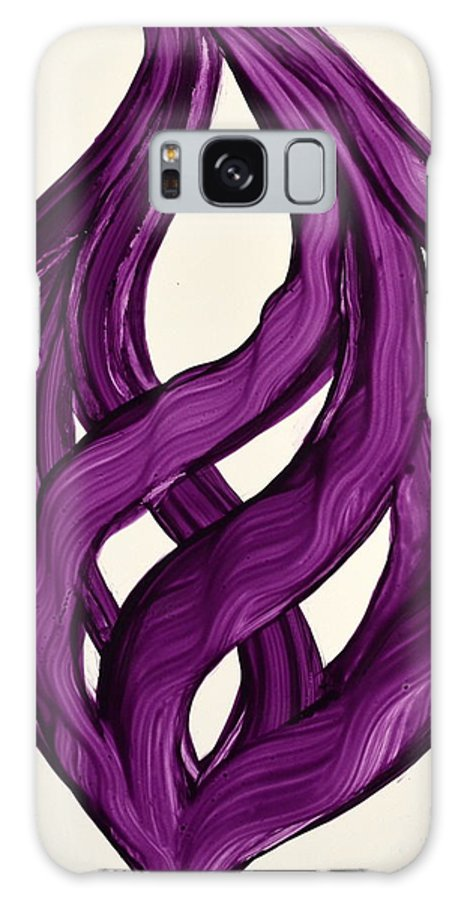 Abstract Art Yupo Comtemporary Modern Pop Romantic Vibrant Galaxy S8 Case featuring the painting Ribbons Of Love-violet by Manjiri Kanvinde