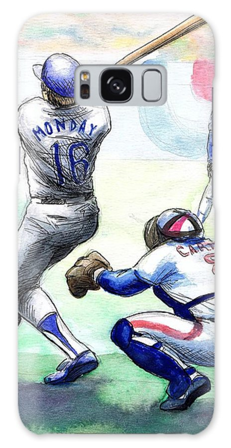 Nostalgia Galaxy S8 Case featuring the drawing Rick Monday by Mel Thompson