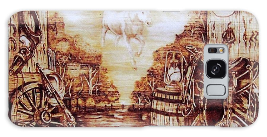 Western Galaxy Case featuring the pyrography Riders In The Sky by Danette Smith