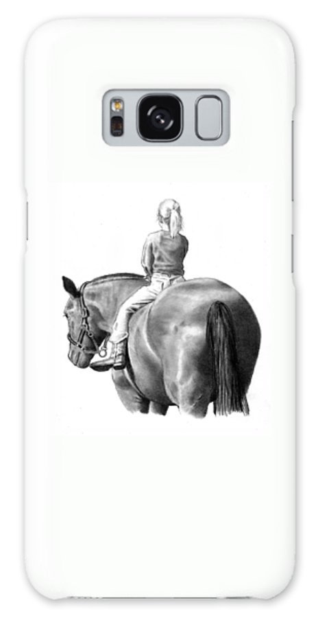 Horse Galaxy S8 Case featuring the drawing Riding Bareback No. 2 by Joyce Geleynse