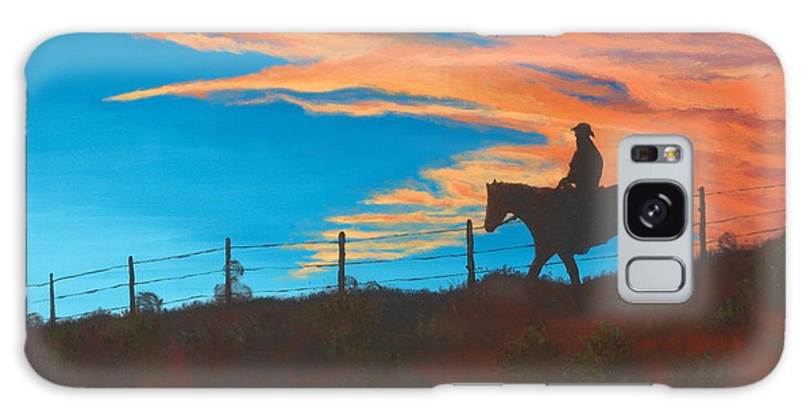 Cowboy Galaxy Case featuring the painting Riding Fence by Jerry McElroy
