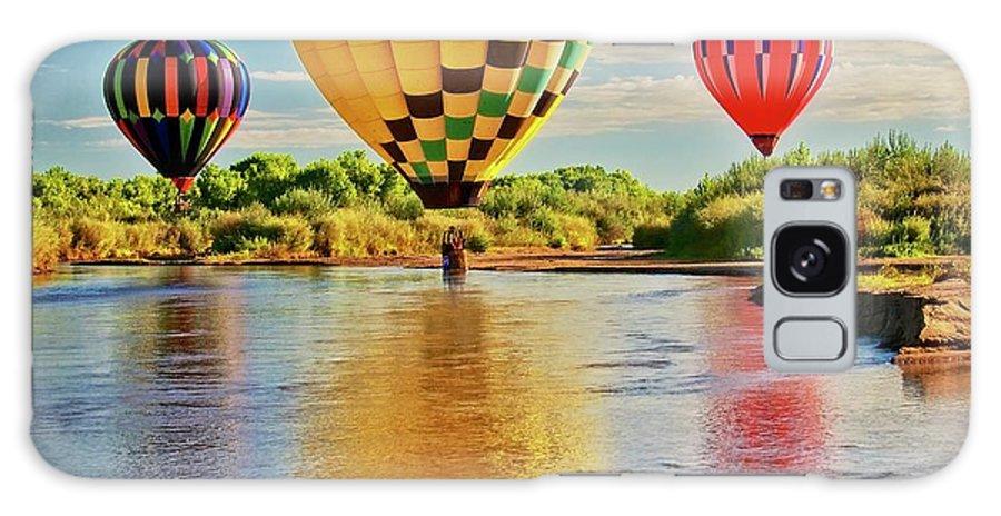 Fine Art Photography Galaxy Case featuring the photograph Rio Grande balloon Reflection, Albuquerque, NM by Zayne Diamond Photographic