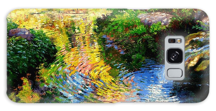 Autumn Pond Galaxy S8 Case featuring the painting Ripples on a Quiet Pond by John Lautermilch