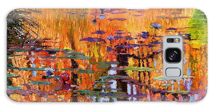 Flower Garden Galaxy S8 Case featuring the painting Ripples On Fall Pond by John Lautermilch