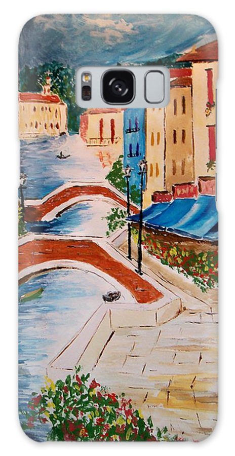 Canal Galaxy S8 Case featuring the painting Riverwalk by Leo Gordon