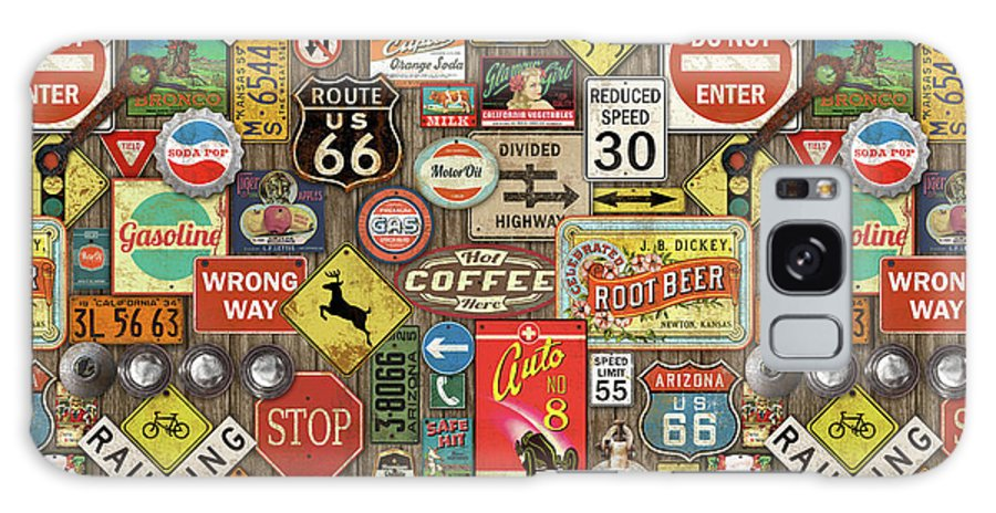 Route 66 Galaxy Case featuring the painting Roads Signs On Wood-jp3958-b by Jean Plout