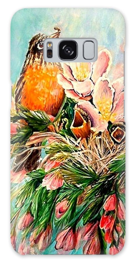 Robins Galaxy S8 Case featuring the painting Robin Hood by Carol Allen Anfinsen