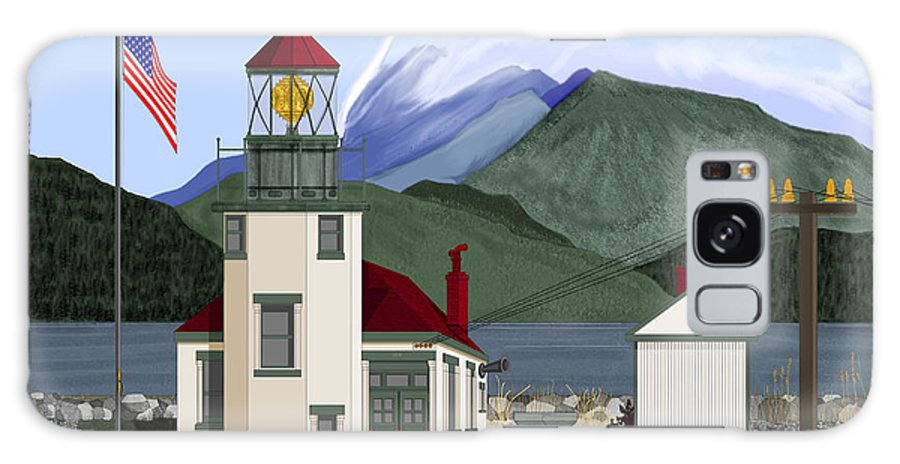 Point Robinson Lighthouse Galaxy Case featuring the painting Robinson Point With Mount Rainier by Anne Norskog