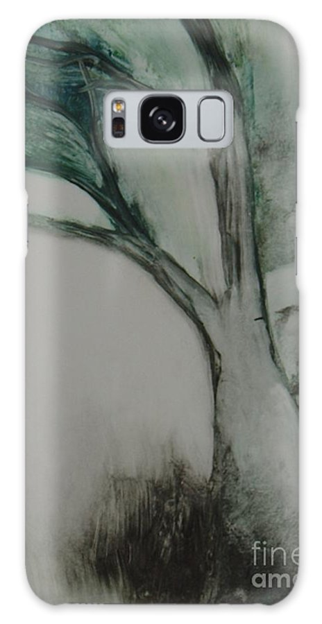 Monoprint Tree Rock Trees Galaxy Case featuring the painting Rock Tree by Leila Atkinson