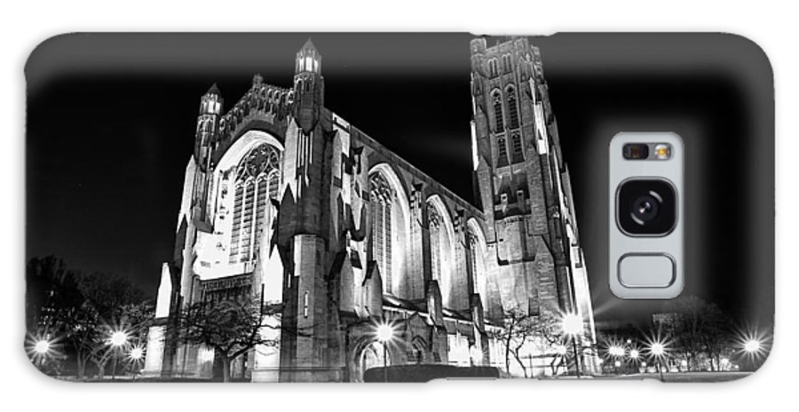 Chicago Galaxy S8 Case featuring the photograph Rockefeller Chapel - B And W by CJ Schmit