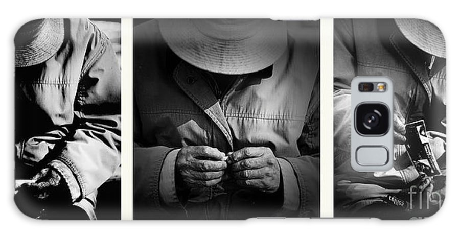 Rollup Rolling Cigarette Smoker Smoking Man Hat Monochrome Galaxy S8 Case featuring the photograph Rolling His Own by Sheila Smart Fine Art Photography