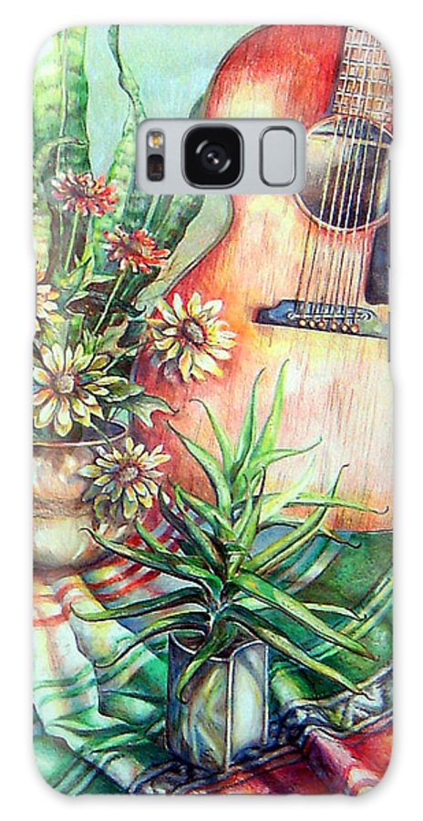 Guitar Galaxy S8 Case featuring the drawing Room For Guitar by Linda Shackelford