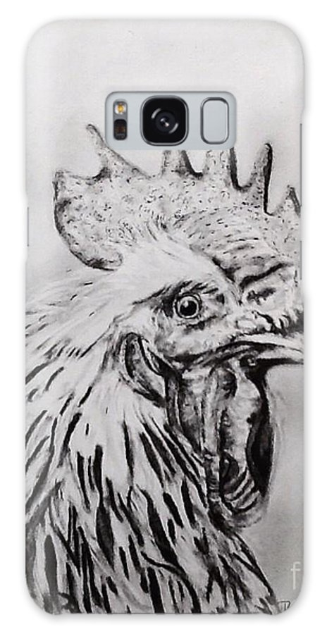 Rooster Galaxy Case featuring the drawing Rooster by Regan J Smith