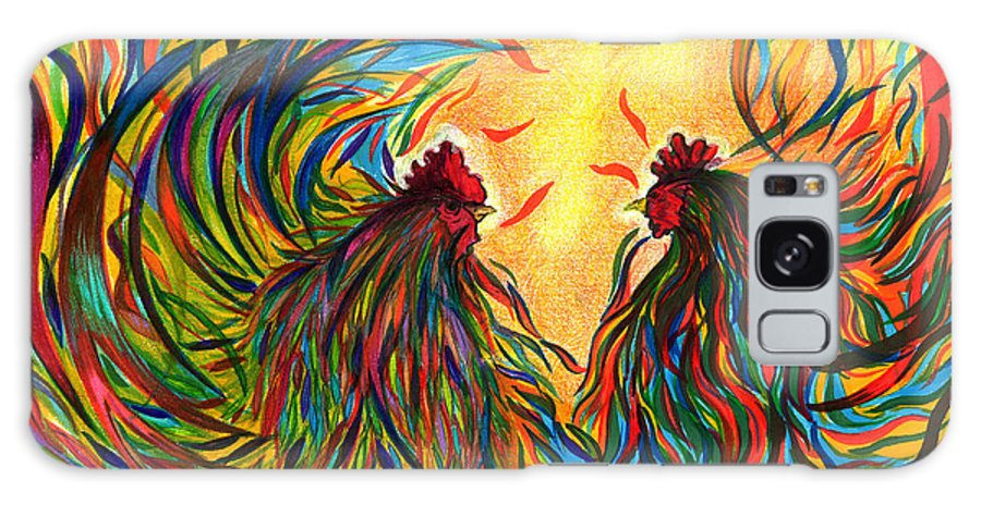Roosters Galaxy S8 Case featuring the mixed media Roosters Frienship by Fanny Diaz