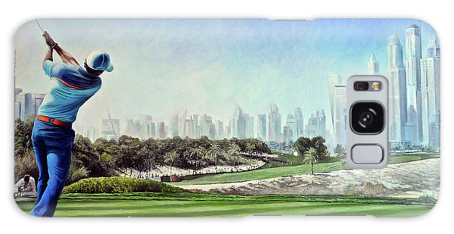 Rory Mcilroy Galaxy S8 Case featuring the painting Rory At Ddc Emirates Gc Dubai 8th 2014 by Mark Robinson