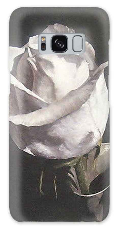 Rose Floral Nature White Flower Galaxy Case featuring the painting Rose 2 by Natalia Tejera
