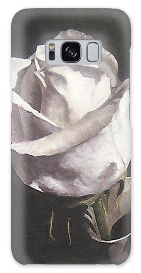 Rose Floral Nature White Flower Galaxy S8 Case featuring the painting Rose 2 by Natalia Tejera