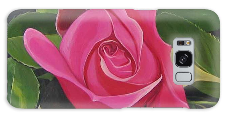 Pink Rose Galaxy Case featuring the painting Rose Arcana by Hunter Jay