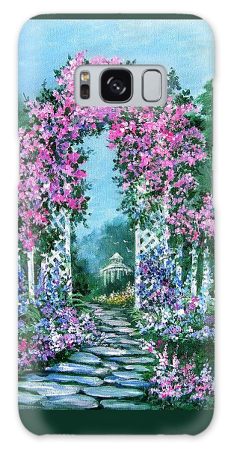 Roses;floral;garden;picket Fence;arch;trellis;garden Walk;flower Garden; Galaxy Case featuring the painting Rose-covered Trellis by Lois Mountz